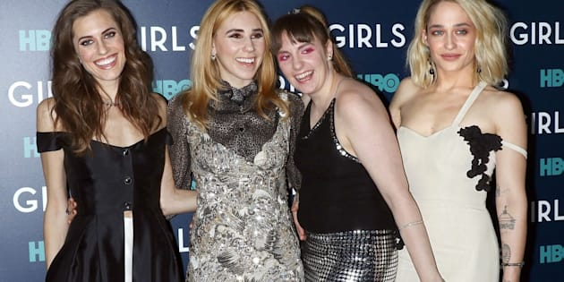 """Actresses Allison Williams, Zosia Mamet, Lena Dunham and Jemima Kirke attend the the New York premiere of the sixth and final season of """"Girls"""" at Lincoln Center on February 2, 2017."""