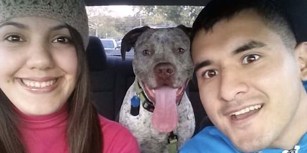 "Rebecca and Juan ""Frankie"" Hernandez with their dog, Apollo."