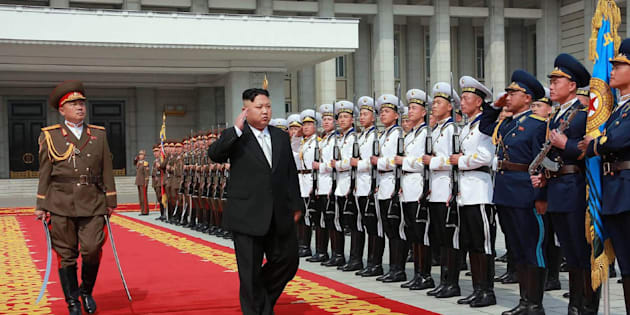 "Kim Jong Un arrives for a military parade in Pyongyang marking the 105th anniversary of the birth of late leader Kim Il Sung. The day is treated as a holiday in North Korea and referred to as the ""Day of Sun."""