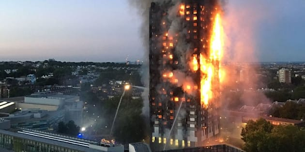 The fire breaks out at Grenfell Tower