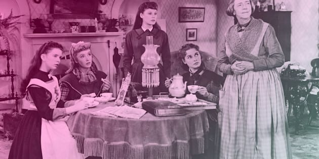 "Actresses (left to right) Margaret O'Brien, Elizabeth Taylor, June Allyson, Janet Leigh and Lucile Watson in character as the March women drinking tea on the set of a film adaptation of Louisa May Alcott's ""Little Women"" directed by Mervyn LeRoy."