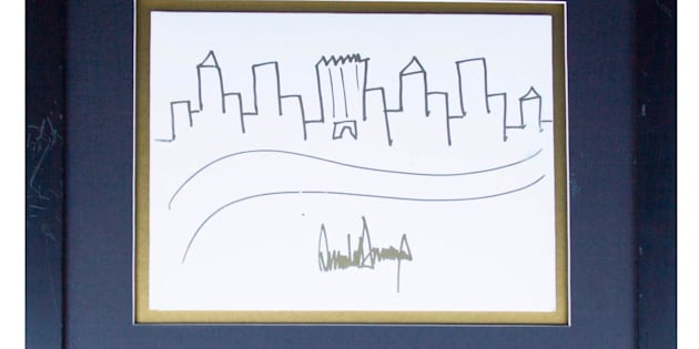 Donald Trump Signed Drawing of the New York City Skyline