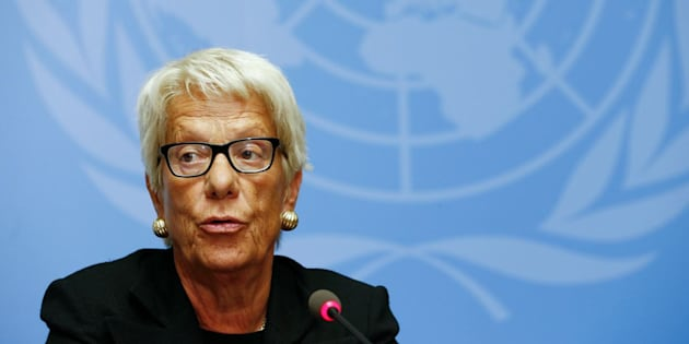 Carla del Ponte addresses the media during a press conference at the U.N. in June 2015.