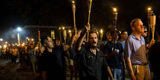 Neo-Nazis and white supremacists marching in Charlottesville, VA.
