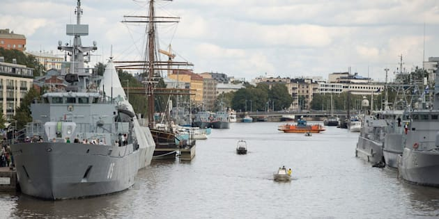 Naval vessels berth along the Aurajoki in Turku on Aug. 31, 2014 during the Northern Coasts 2014 international naval exercise.