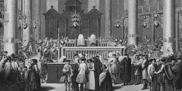 Print of the Jewish feast of Purim, a Jewish holiday commemorating the deliverance of the Jews in the Persian Empire, Touro Synagogue, Rhode Island,1712. (Photo by Archive Photos/Getty Images)