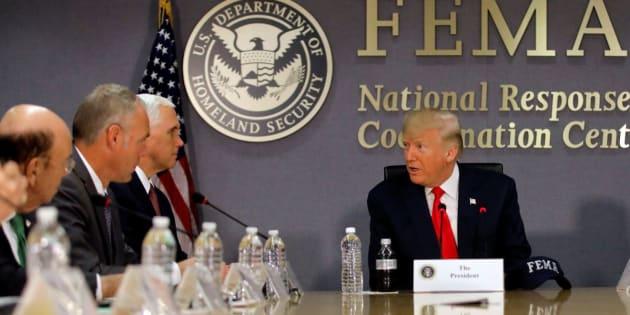 U.S. President Donald Trump attends a Federal Emergency Management Agency (FEMA) briefing on hurricane season at FEMA Headquarters in Washington, U.S., August 4, 2017. REUTERS/Carlos Barria