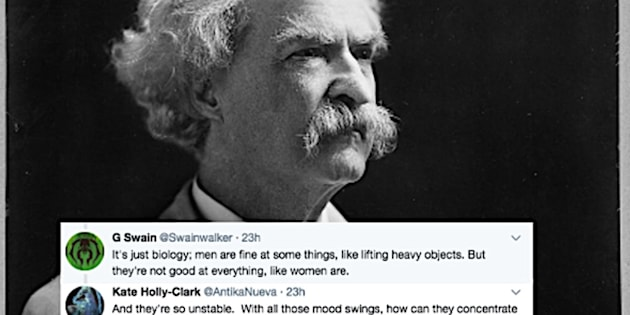 Photo of Mark Twain with tweets from a satirical Twitter thread launched by @manwhohasitall.