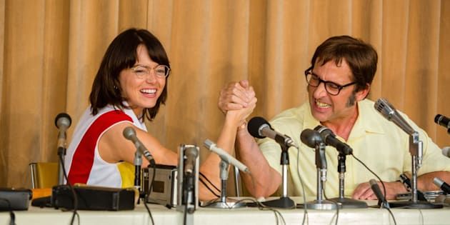 "Emma Stone and Steve Carell star in ""Battle of the Sexes."