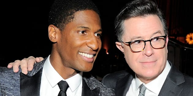 NEW YORK, NY - JUNE 06:  Musician Jon Batiste (L) and comedian Stephen Colbert attend the Gordon Parks Foundation Awards Dinner & Auction at Cipriani 42nd Street on June 6, 2017 in New York City.  (Photo by Owen Hoffmann/Patrick McMullan via Getty Images)
