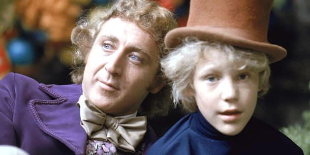 """Peter Ostrum as Charlie Bucket, with Gene Wilder as Willy Wonka, on the set of """"Willy Wonka & the Chocolate Factory"""" in 1971."""