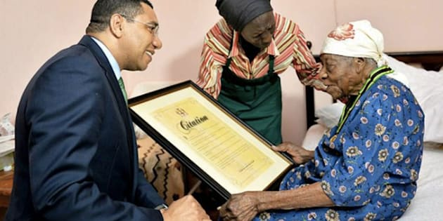 Violet Mosse-Brown was known as Aunt V. Prime Minister Andrew Holness gave her the Prime Minister's Medal of Appreciation in April at her home, with her caretaker.