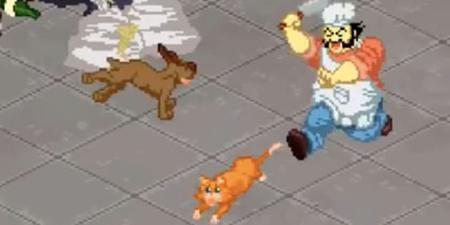"A clip from a video game called ""Dirty Chinese Restaurant,"" which the game's developers said will not be released."