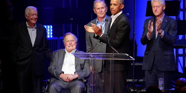 Five former U.S. presidents, Jimmy Carter, George H.W. Bush, George W. Bush, Barack Obama and Bill Clintonspeak during a concert at Texas A&M University benefiting hurricane relief efforts in College Station, Texas, U.S., October 21, 2017. REUTERS/Richard Carson