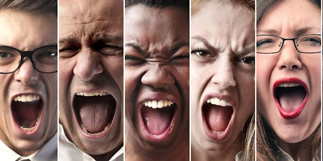 Collage of seven people screaming from close