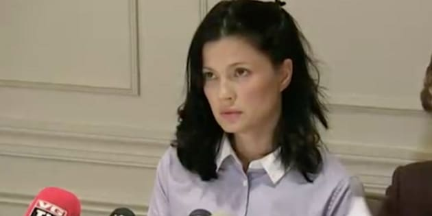 Actress and model Natassia Malthe speaks out against Harvey Weinstein during a news conference on Wednesday.