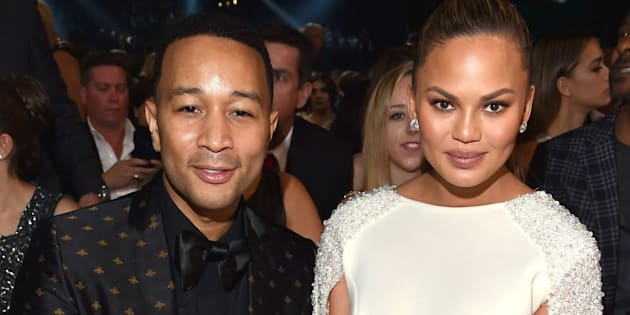 LOS ANGELES, CA - FEBRUARY 15:  Singer John Legend and model Chrissy Tiegen attend The 58th GRAMMY Awards at Staples Center on February 15, 2016 in Los Angeles, California.  (Photo by Lester Cohen/WireImage)