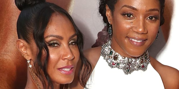 LOS ANGELES, CA - JULY 13:  Jada Pinkett Smith, Tiffany Haddish, Regina Hall and Queen Latifah attend the Premiere Of Universal Pictures' 'Girls Trip' at Regal LA Live Stadium 14 on July 13, 2017 in Los Angeles, California.  (Photo by Todd Williamson/Getty Images)
