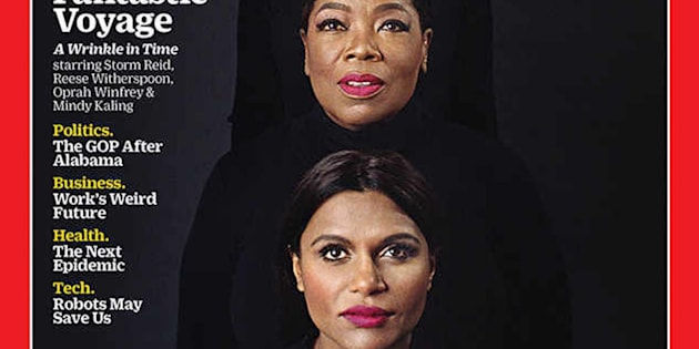 On the cover, the women are all dressed in identical black turtlenecks with their hair parted down the center, wearing a berry lip.