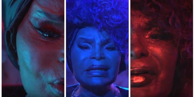 Frames de Elza Soares no vídeo de 'A Mulher do Fim do Mundo'.