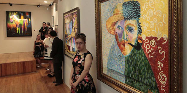 Andrea Simmó, de 23 años, realizó la obra Dos Van Gogh, pues admira el trabajo de Impresionismo del pintor neerlandés.
