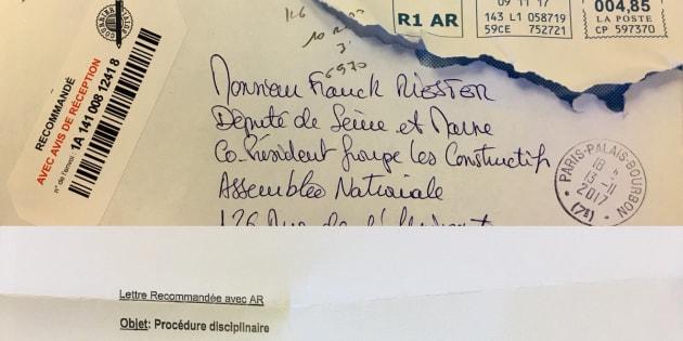 Il y a comme un problème avec lettre d'exclusion envoyée à Franck Riester par Les Républicains