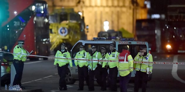 Police at the scene of Wednesday's terror attack on Westminster Bridge in London