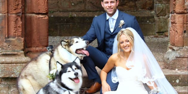 """Emma-Leigh and Shane Matthews included their canine maid of honor and best man in """"every part"""" of their wedding day."""