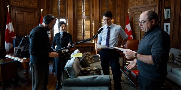 """Prime Minister Justin Trudeau with Brent Butt, right, and crew members from """"Corner Gas."""""""