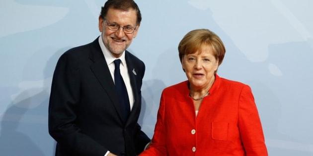 Angela Merkel y Mariano Rajoy, juntos en Hamburgo (Alemania) en la reunión del G20 pasado julio.