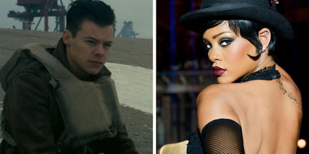 "Harry Styles in ""Dunkirk"" and Rihanna in ""Valerian and the City of a Thousand Planets."""