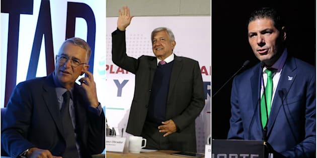 Ricardo Salinas Pliego (izquierda); Andrés Manuel López Obrador (centro); Carlos Hank González (derecha).