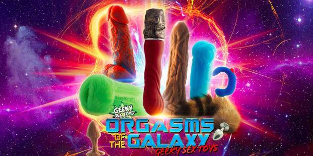 """La panoplie """"Orgasms of the Galaxy"""" présente huitsextoys à l'effigie des personnages des """"Gardiens de la Galaxie""""."""