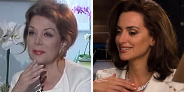 La periodista Virginia Vallejo, durante una entrevista en 2007 y Penélope Cruz, en 'Loving Pablo'.