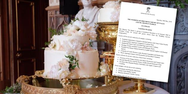 Le gâteau et le menu (très appétissant) du mariage royal