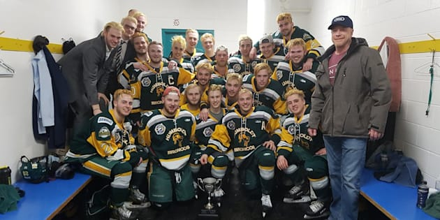 Humboldt Broncos  Twitter                       The Humboldt Broncos celebrate with the Bourgault Cup after a big win