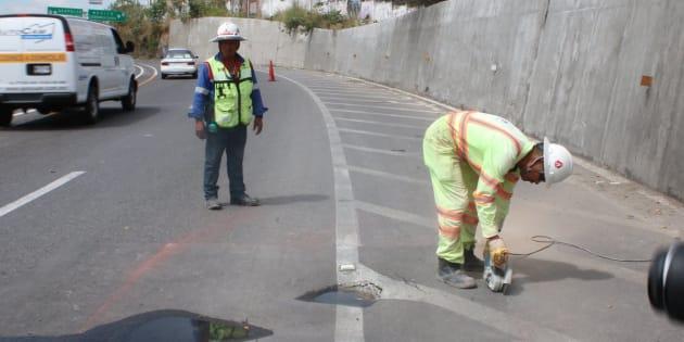 Protección Civil de Morelos informó que se realizan los trabajos correspondientes para resolver el nuevo hundimiento en el Paso Exprés.
