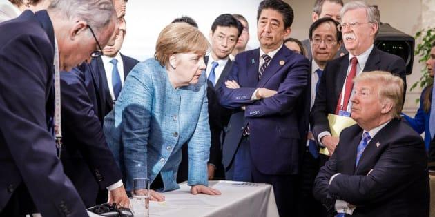 Lo lideres de las 7 potencias mundiales durante la Cumbre del G-7 en Canadá.