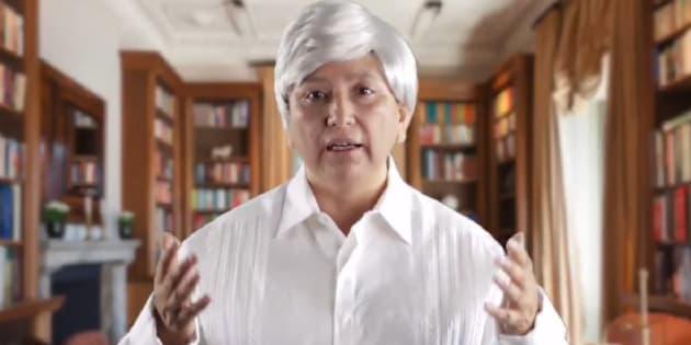 La candidata plurinominal al Senado se vistió como López Obrador para hacer un spot.