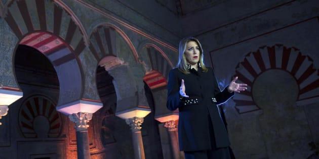 Susana Díaz, durante su discurso de Navidad en Medina Azahara (Córdoba)