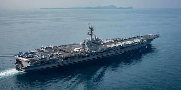 The aircraft carrier USS Carl Vinson transits the Sunda Strait on April 15, 2017.