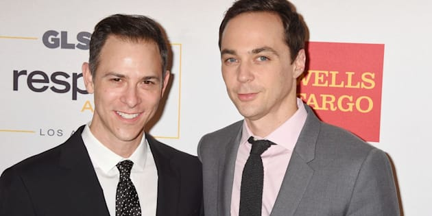 Todd Spiewak and Jim Parsons attend the 2016 GLSEN Respect Awards at the Beverly Wilshire Hotel on Oct. 21, 2016, in Beverly Hills, California.