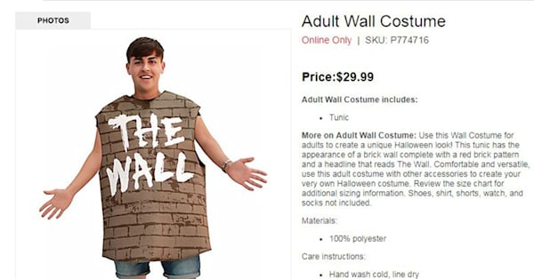 Party City Offers Outwardly Political Costume Called The Wall For