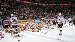 Hockey Fans Throw Nearly 35,000 Stuffed Toys On The Ice For