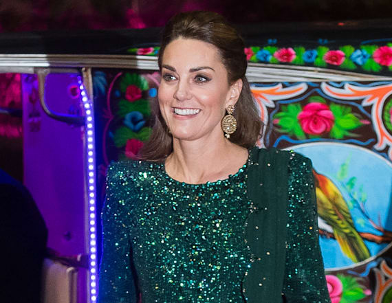 Kate Middleton dazzles in green Jenny Packham gown