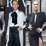 Céline Dion magnifique en noir, gris et blanc aux défilés haute