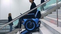 Ce fauteuil roulant peut monter et descendre les