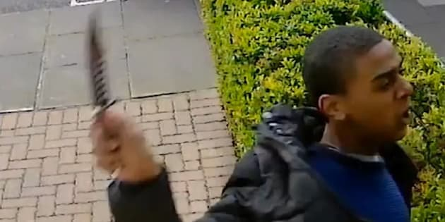 The man caught on CCTV slashing a 21-year-old man across the face with a knife