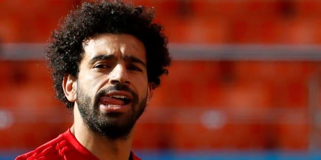 Mohamed Salah durante un entrenamiento en la Arena Ekaterinburg.