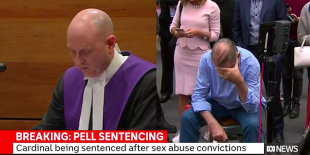 Le cardinal Pell apprenant le verdict.